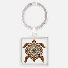 Native American Turtle 02 Square Keychain