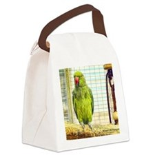 green parrot Canvas Lunch Bag