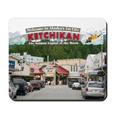 The Welcome sign over the main street. Mousepad