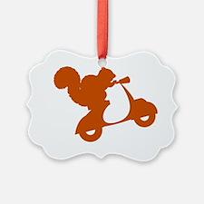 Orange Squirrel on Scooter Ornament