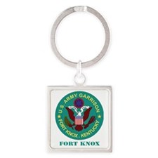Fort Knox with Text Square Keychain