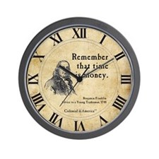Ben Franklin - Time is Money Wall Clock