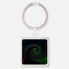 Cosmic Yin Yang Swirl Square Keychain
