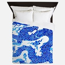 Vintage Blue Dragon Chinese Porcelain  Queen Duvet