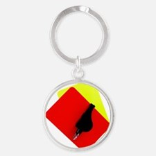 red and yellow card Round Keychain