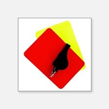 "red and yellow card Square Sticker 3"" x 3"""