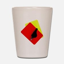 red and yellow card Shot Glass