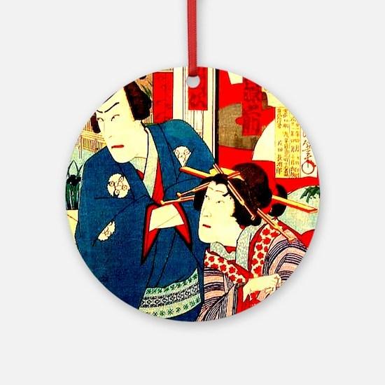 Vintage Japanese Kabuki Geisha Wood Round Ornament