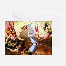 Vintage Flying Trapeze Ladies Circus Greeting Card