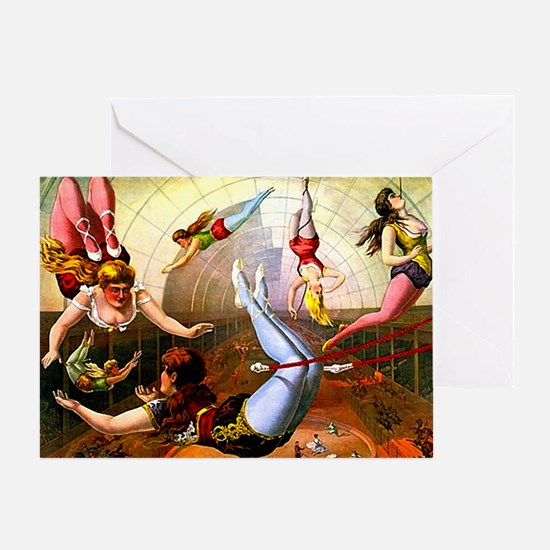 Vintage Flying Trapeze Ladies Circus Greeting Card
