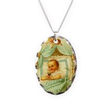 Vintage Victorian New Baby Sho Necklace Oval Charm