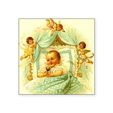 "Vintage Victorian New Baby  Square Sticker 3"" x 3"""