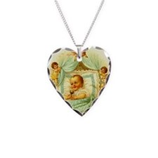 Vintage Victorian New Baby Sh Necklace Heart Charm