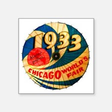 "Vintage 1933 Chicago World' Square Sticker 3"" x 3"""