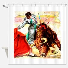 Vintage Mexico Bull Fighter Bullfig Shower Curtain