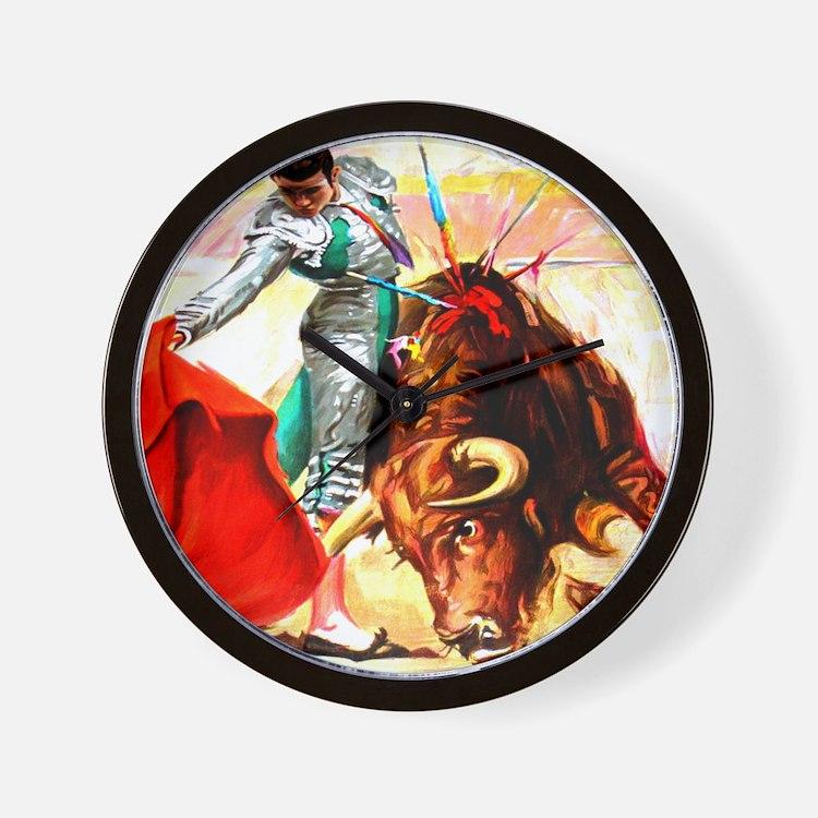 Vintage Mexico Bull Fighter Bullfight P Wall Clock