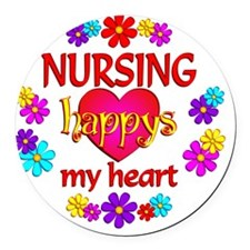 Nursing Happy Round Car Magnet
