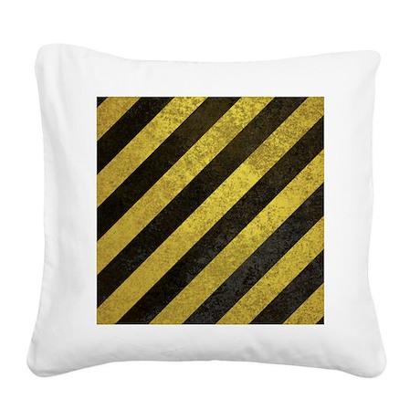 HazardStripesiPad Square Canvas Pillow