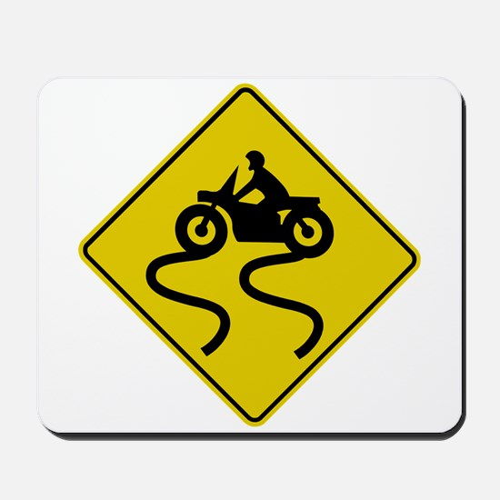 Motorcycle Road Sign Mousepad