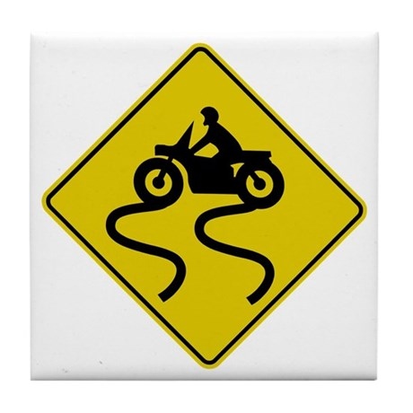 Motorcycle Road Sign Tile Coaster