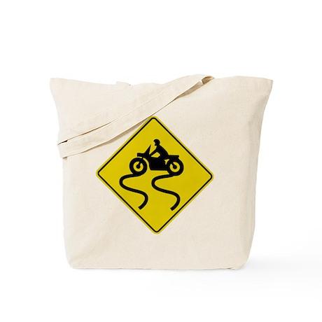 Motorcycle Road Sign Tote Bag