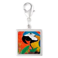 Parrot Head Silver Square Charm