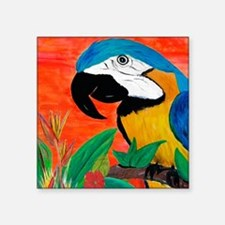 "Parrot Head Square Sticker 3"" x 3"""