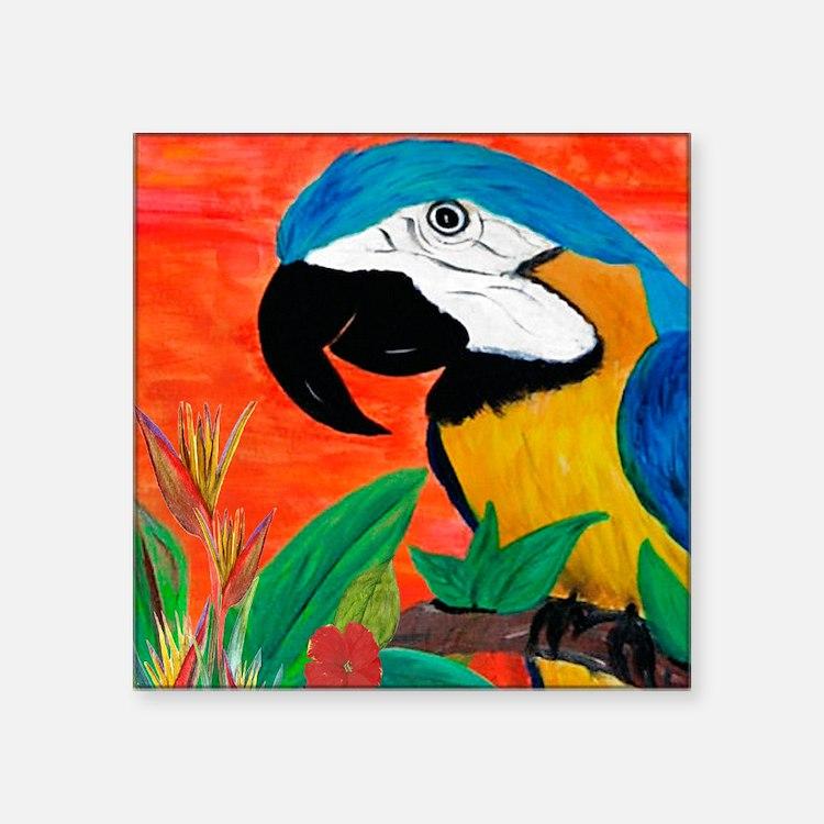 "Parrot Head Square Sticker 3"" x 3"""