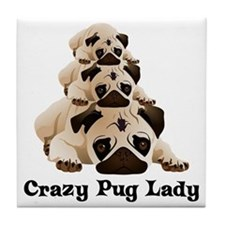 Crazy Pug Lady Tile Coaster
