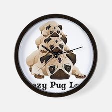 Crazy Pug Lady Wall Clock