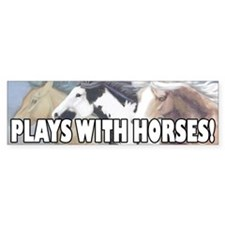 Plays With Horses Bumper Car Sticker
