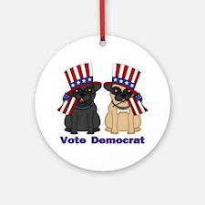Vote Democrat Round Ornament