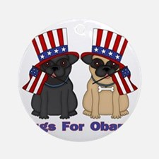 Pugs For Obama Round Ornament
