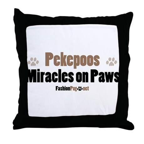 Pekepoo dog Throw Pillow