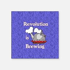 "Revolution is Brewing (Blue Square Sticker 3"" x 3"""