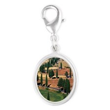 WINDING ROAD ON HILL, TUSCANY,  Silver Oval Charm