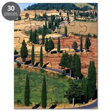 WINDING ROAD ON HILL, TUSCANY, ITALY Puzzle