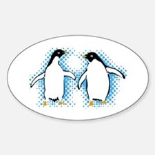 Dancing Penguins Oval Decal
