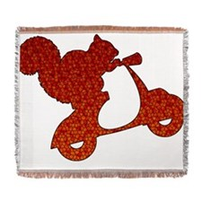 Red Squirrel on Scooter Mosaic Woven Blanket