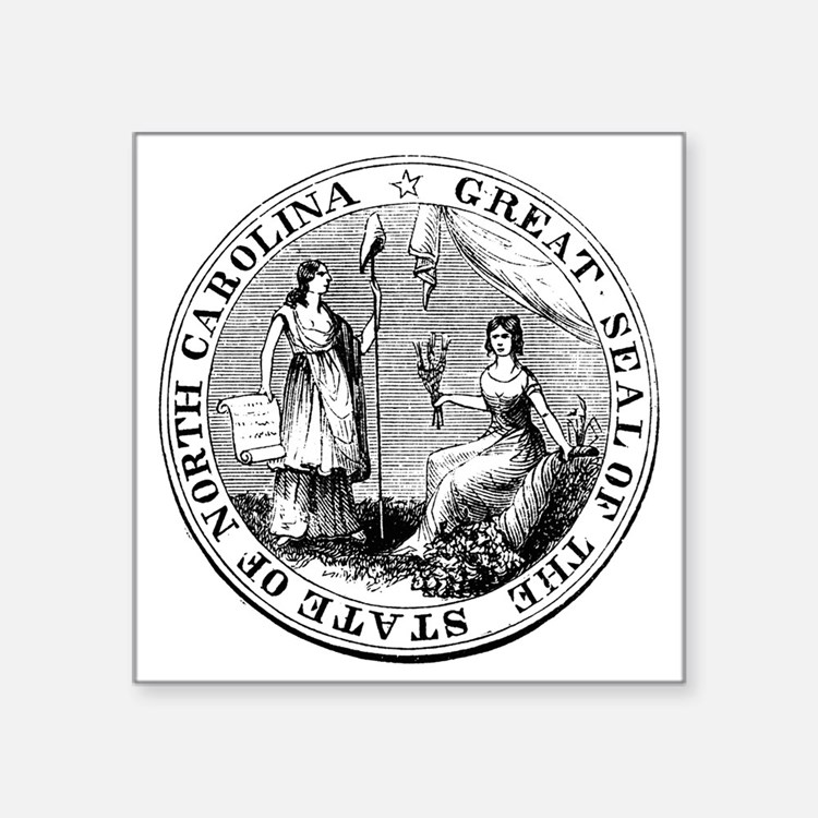 "North Carolina State Seal Square Sticker 3"" x 3"""