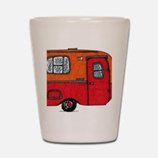 Cute orange boler camper Shot Glass