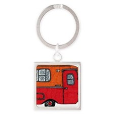 Cute orange boler camper Square Keychain