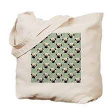 Pugs on Green Stripes Tote Bag