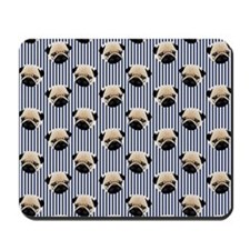 Pugs on Navy Blue Mousepad