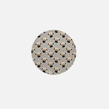 Pugs on Brown Stripes Mini Button