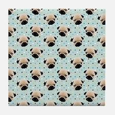 Pugs on Polka Dots Tile Coaster