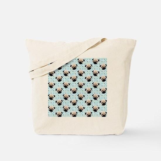 Pugs on Polka Dots Tote Bag