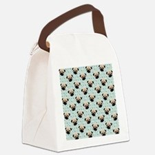 Pugs on Polka Dots Canvas Lunch Bag