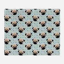 Pugs on Polka Dots Throw Blanket