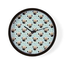 Pugs on Polka Dots Wall Clock